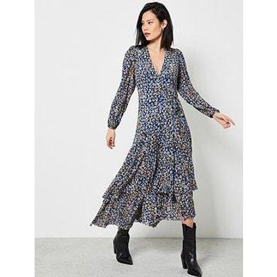 Mint Velvet Maeve Floral Print Jersey Mesh Wrap Dress - Blue