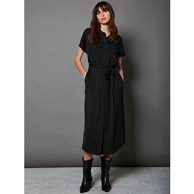 Mint Velvet Grown On Sleeve Belted Shirt Dress - Black