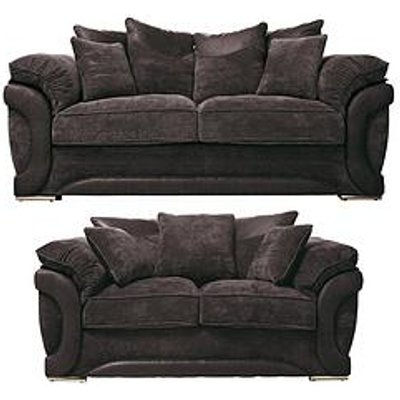 Maze Fabric and Faux Leather 3-Seater plus 2-Seater Sofa
