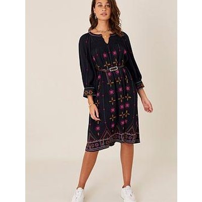 Monsoon Embroidered Navy Tunic Dress