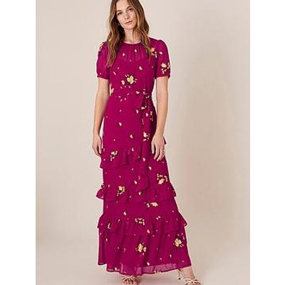 Monsoon Lexie Recycled Embroidered Tiered Maxi Dress - Pink