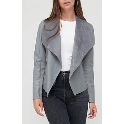 V By Very Faux Leather Waterfall Jacket - Grey