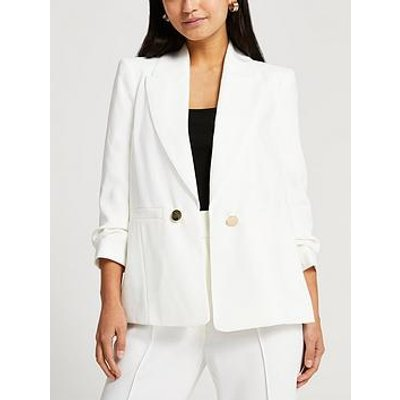 Ri Petite Ruched Sleeve Blazer - White