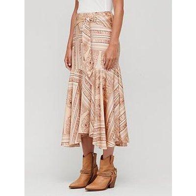 Free People Hampton Printed Midi Skirt - Brown