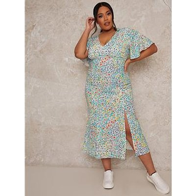 Chi Chi London Curve Chi Chi Curve Flutter Sleeve Floral Print Midi Day Dress