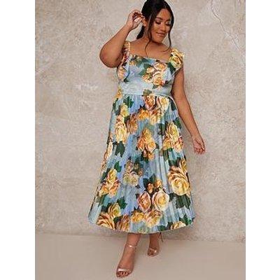 Chi Chi London Curve Chi Chi Curve Ruffle Floral Print Midi Dress