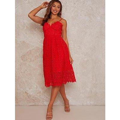 Chi Chi London Sleeveless Crochet Midi Dress - Red