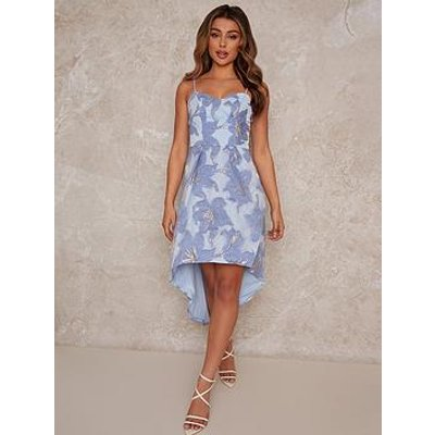 Chi Chi London Chi Chi Jacquard Dip Hem Dress