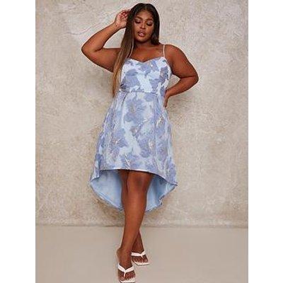 Chi Chi London Curve Jacquard Dip Hem Dress - Blue