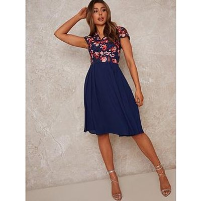 Chi Chi London Chi Chi V Neck Crochet Midi Dress