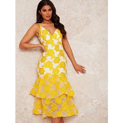 Chi Chi London Peplum Jacquard Bodycon Dress - Yellow