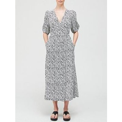 Gestuz Dis Animal Print Wrap Dress - White/Black