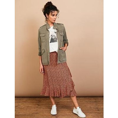 Mint Velvet Ella Animal Print Ruffle Wrap Midi Skirt - Orange