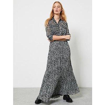 Mint Velvet Zoe Animal Print Crinkle Maxi Skirt - Khaki