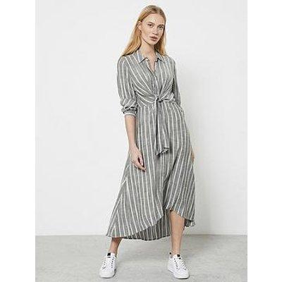 Mint Velvet Striped Knot Shirt Dress - Grey