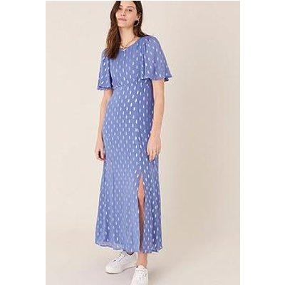 Monsoon Ann Fabric Interest Lurex Tea Dress - Blue
