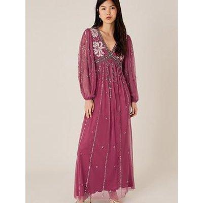 Monsoon Regina Embellished Sustainable Dress - Pink