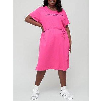 Tommy Hilfiger Curve 100% Organic Cotton Logo Midi Dress - Pink