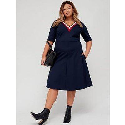 Tommy Hilfiger Tommy Hilfiger Curve Punto Fit & Flare Knee Length Dress