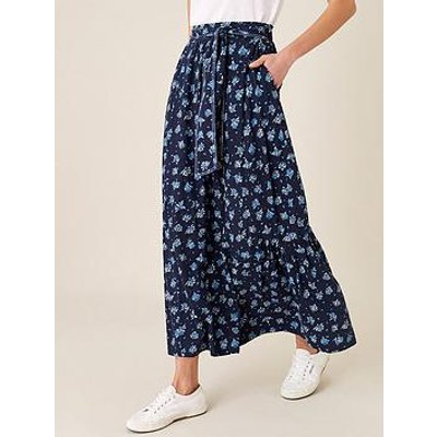 Monsoon Monsoon Floss Fan Print Jersey Maxi Skirt