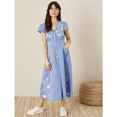 Monsoon Monsoon Blue Linen Embroidered Midi Dress