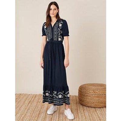 Monsoon Monsoon Heritage Embroidered Maxi Shirt Dress