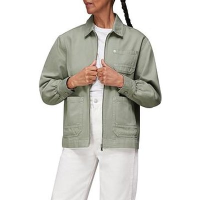 Whistles Zip Front Cargo Jacket - Pale Green