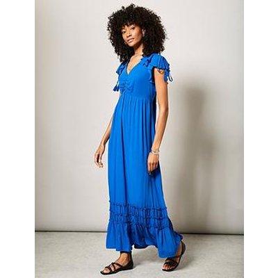 Mint Velvet Mint Velvet Blue Ruched Ruffle Sun Dress