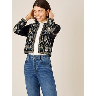 Monsoon Black Embroidered Cropped Jacket
