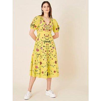 Monsoon Monsoon Delia Yellow Embroidered Tea Dress