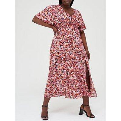 Ax Paris Curve Split Leg Midi Dress - Red Floral Print