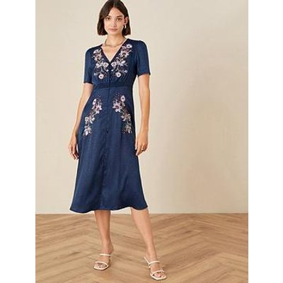 Monsoon Monsoon Embroidered Placement Jacquard Dress