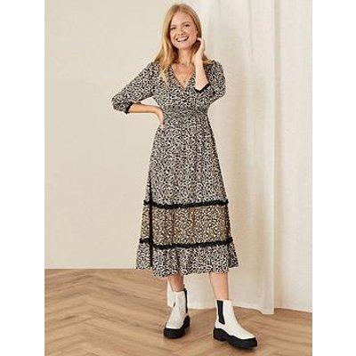Monsoon Black Print V Neck Dress