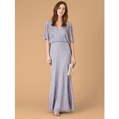 Monsoon Holly Sustainable V-Neck Embellished Maxi Dress - Blue