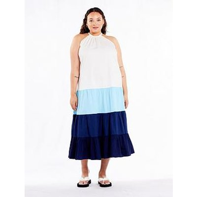 Never Fully Dressed Curve Colour Block Maxi Dress - Blue