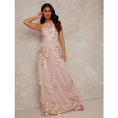 Chi Chi London Embroidered Lace Maxi Dress - Pink