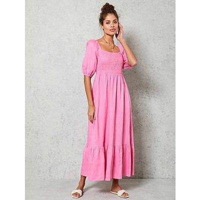 Mint Velvet Puff Sleeve Linen Midi Dress - Bright Pink
