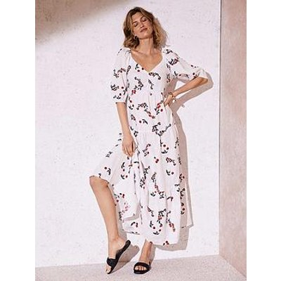 Mint Velvet Elyse Print Short Sleeve Linen Midi Dress - Ivory