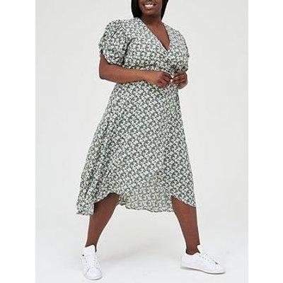 Ax Paris Curve Puff Sleeve Wrap Midi Dress - Floral Print