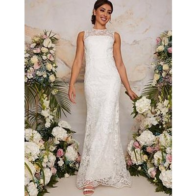Chi Chi London Sleeveless Premium Lace Wedding Dress - White