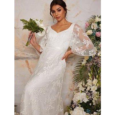 Chi Chi London Flutter Sleeve Backless Lace Bridal Wedding Dress - White
