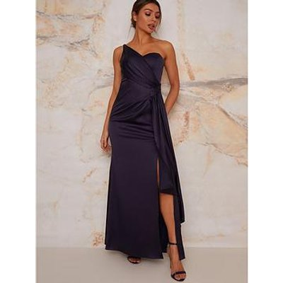 Chi Chi London One Shoulder Satin Maxi Dress - Navy