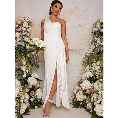 Chi Chi London One Shoulder Satin Bridal Wedding Dress - White
