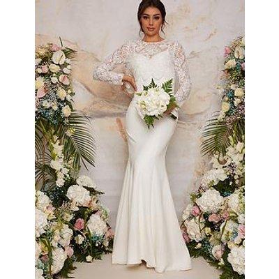 Chi Chi London Long Sleeve Lace Bodice Wedding Dress - White