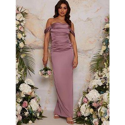 Chi Chi London Bardot Ruched Satin Bridesmaid Maxi Dress - Lilac