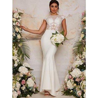 Chi Chi London Sheer Floral Lace Bridal Wedding Dress - White