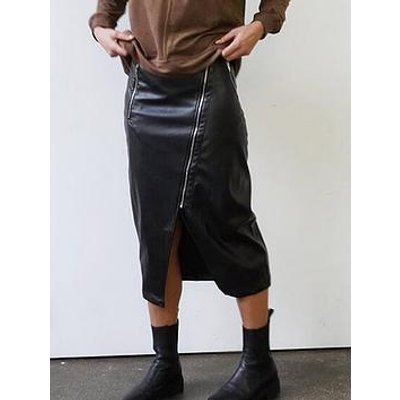 Religion Zip Detail Pu Pencil Skirt - Black