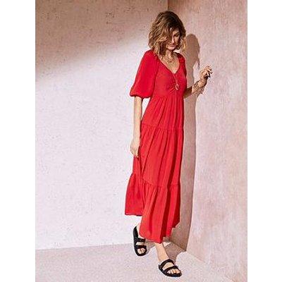Mint Velvet Red Tiered Boho Maxi Dress