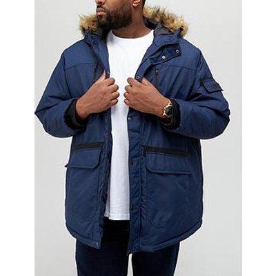 Jack & Jones Big &Amp; Tall Faux Fur Parka Jacket - Navy