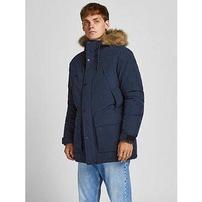 Jack & Jones Faux Fur Hooded Parka Jacket - Navy